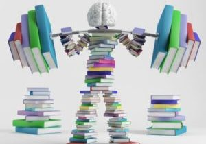 15082572 - bookish man lifts a heavy barbell loaded with sports in the form of books